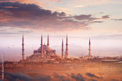 Fototapeta Blue Mosque and beautiful sunset in Istanbul, Turkey