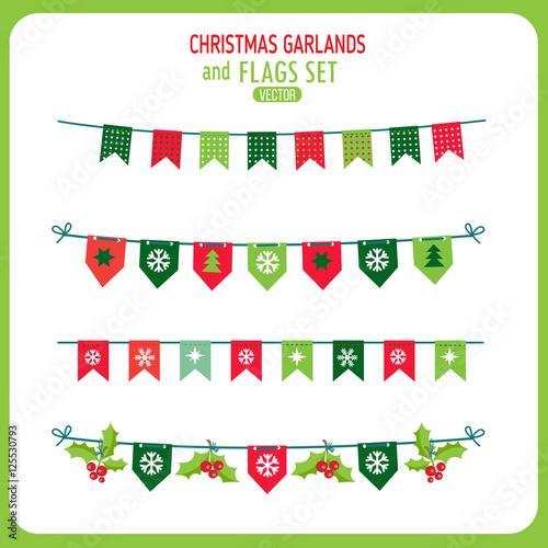 Fotografia  Christmas Garland And Flags Decoration Elements Set