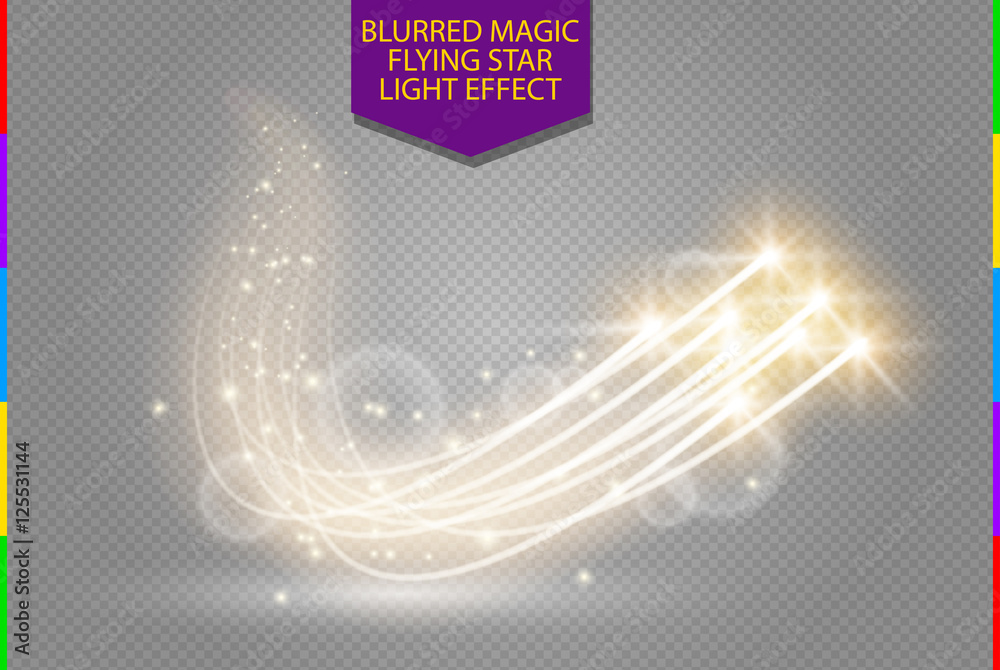 Fototapety, obrazy: Abstract vector magic glow star light effect with neon blur curved lines. Sparkling dust star trail with bokeh. Special white and golden christmas effect on transparent background