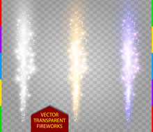 Abstract Firework Set. Vector Fountain Of Sparks Light Special Effect. Sparkling Pillar Of Fire White, Golden And Purple Color On Transparent Background. Christmas Lights Collection.