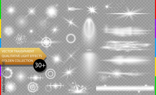 Foto op Canvas Licht, schaduw Glow isolated white transparent light effect set, lens flare, explosion, glitter, line, sun flash, spark and stars. Abstract special effect element design. Shine ray with lightning, sparkling round