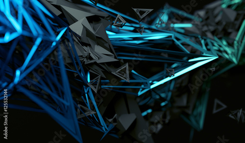 Obraz Abstract 3d rendering of chaotic surface. Contemporary background with futuristic polygonal shape. Distorted low poly object with sharp lines. - fototapety do salonu