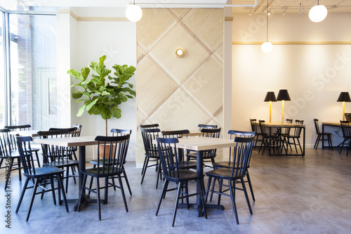 Interior of empty coffee shop