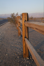 Wooden Fence In Death Valley At Sunrise