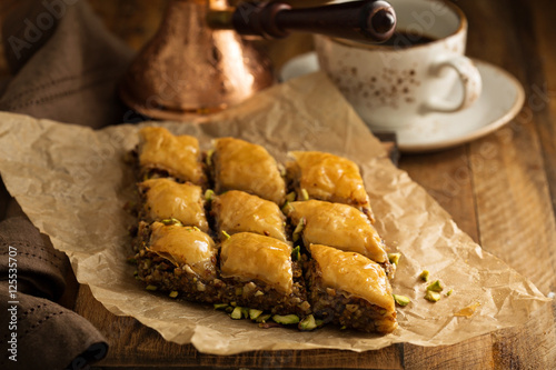 Homemade baklava with nuts and honey Wallpaper Mural