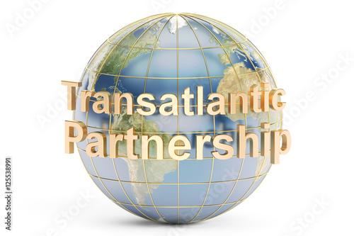 Fotografie, Obraz  Transatlantic Partnership concept, 3D rendering