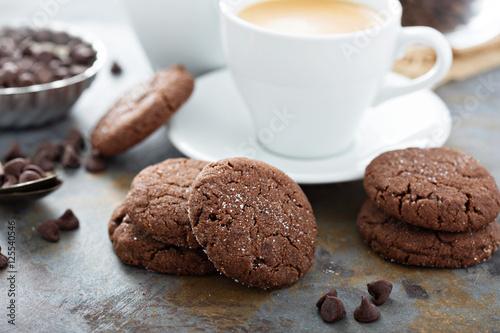 Photo  Chocolate cookies with sugar coating