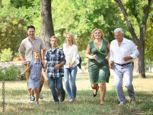 Fototapeta Large happy family walking in park obraz