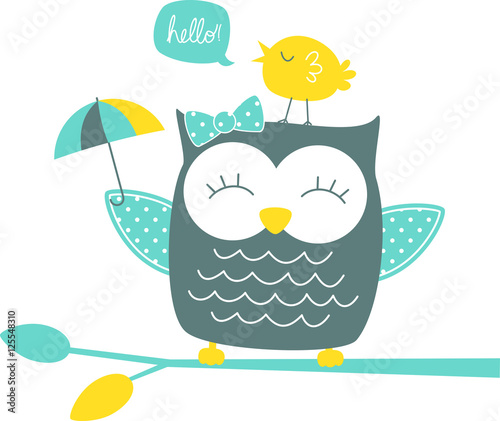 Canvas Prints Owls cartoon cute happy owl and singing canary on branch isolated on white background