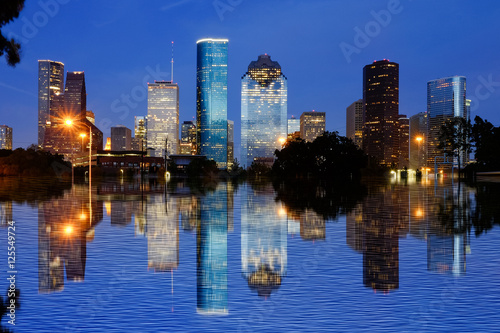 Poster Texas Reflection view of Downtown Houston city, Texas in a beautiful day at night