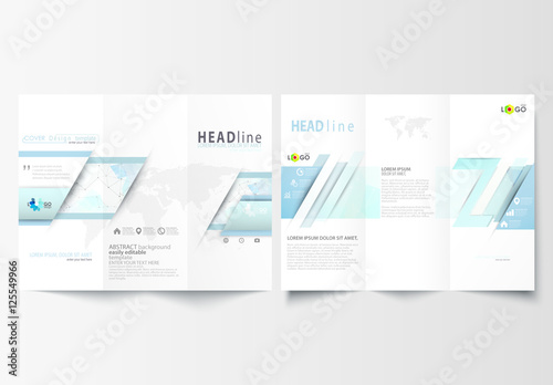 trifold brochure layout with cool tone geometric design element 6