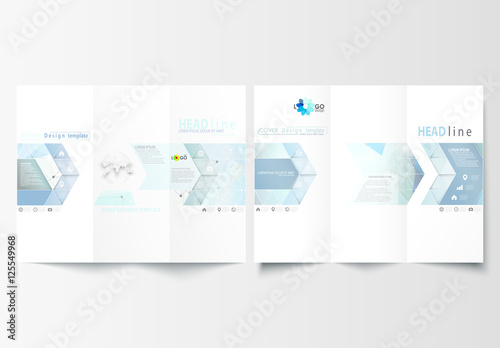 Trifold Brochure Layout With Cool Tone Geometric Design Element 7