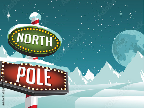 Stampa su Tela North Pole sign in a snowy Christmas scene. EPS 10 vector.