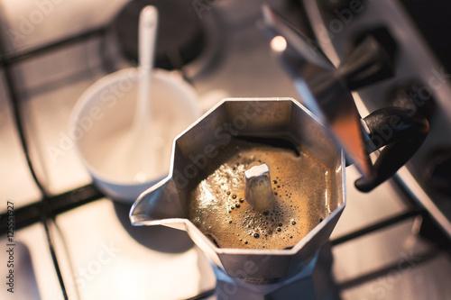 Fotografie, Obraz  Moka coffee , Soft vintage tone, Selective focus