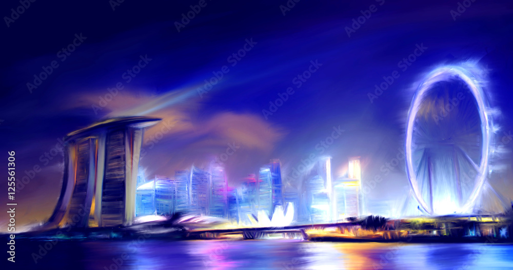 Oil color painting Singapore Skyline Marina Bay