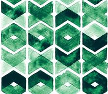 Watercolor Chevron Green Color...