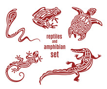 Stylized Reptiles And Amphibian Vector Icon Set. Ornamental Silhouette Of Snake (cobra), Frog, Turtle, Salamander (lizard). Sketch Of Tattoo. African, Indian, Mexican Totem Design. Vector Illustration