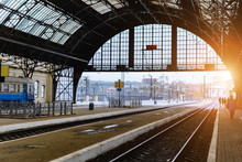 The Railway Station In Lviv, Ukraine. The Design Is Similar To The Train Station In Milan, Italy.Early Morning. Soft Focus. Toning