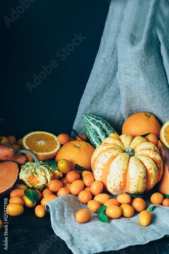 Fresh Fall Harvest On Dark Wooden Background Using For