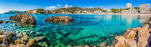 Fototapeta Mediterranean Sea Coastline Panorama of Platja de Palmira Paguera Majorca Spain obraz