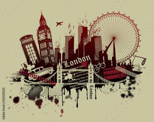 London landmarks in grunge style Canvas Print