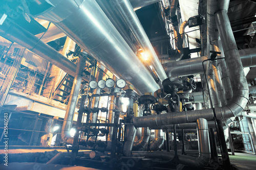 Wall Murals Khaki Industrial zone, Steel pipelines, valves and gauges