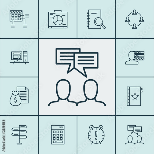 Set Of Project Management Icons On Discussion, Time
