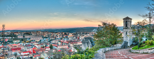 Photo Stands Green blue landscape with bell tower in Campobasso