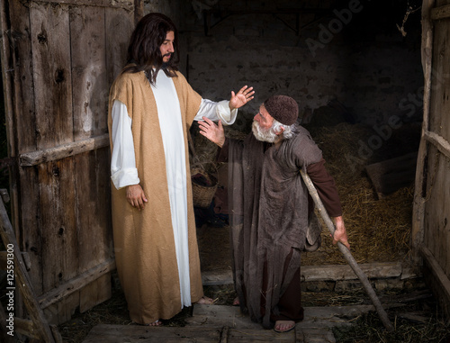 Leinwand Poster Jesus healing the lame or crippled man