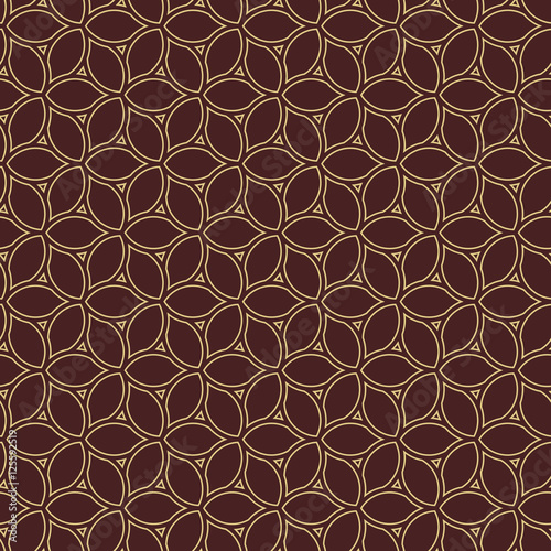 Fototapety, obrazy: Seamless vector brown and golden ornament. Modern geometric pattern with repeating elements