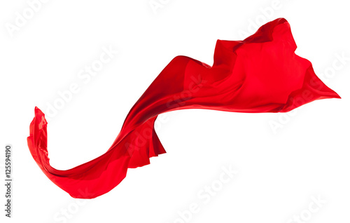 Poster Tissu Smooth elegant red satin isolated on white background
