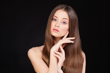 Healthy Woman Model with Long Shiny Hair and Perfect Skin