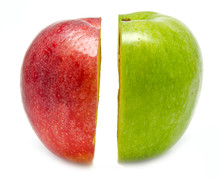 The Creative Apple Combined From Two Half Of Red And Green