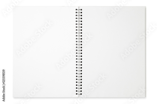 Foto  Blank spiral notebook isolated on white background