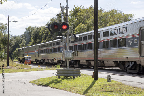 DeLand Florida USA - October 2016 - An Amtrak passenger train at DeLand Station Canvas Print