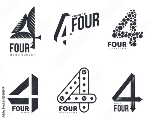 Fényképezés Set of black and white number four logo templates, vector illustrations isolated on white background