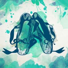 Ballet Dance Studio Symbol - Vector Illustration. Graphic Illustration. I Love Ballet. Pointe Shoes On Watercolor Background