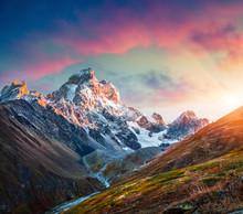 Colorful Sunrise On The Mt. Ushba