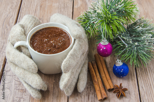 In de dag Chocolade knitted gloves and chocolate