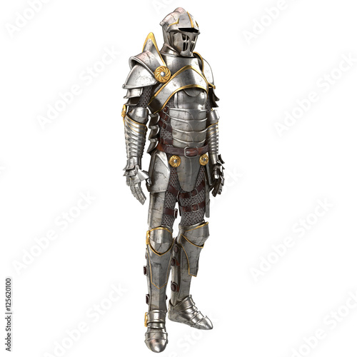 Fotografie, Obraz  3d illustration of a full suit of armor isolated on white background