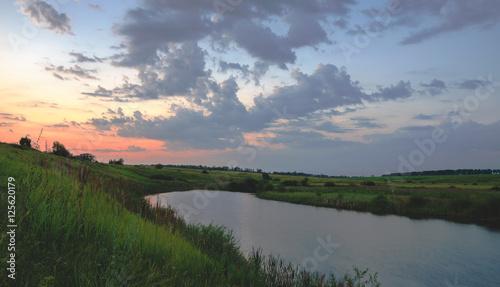 Poster Landscapes Summer landscape with river