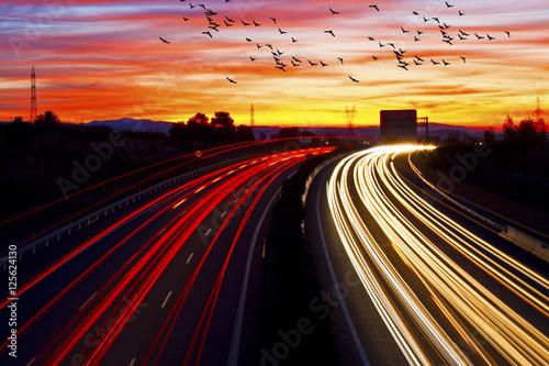 In de dag Nacht snelweg trafico en la carretera por la noche