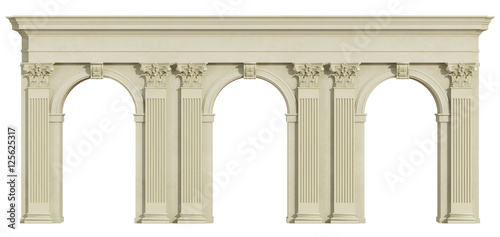 Fotografija Classic colonnade isolated on white