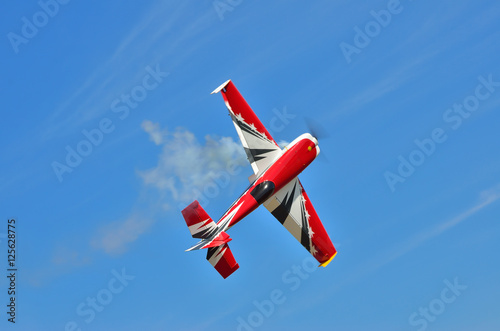 Photo  Flying the plane performs aerobatics in the sky