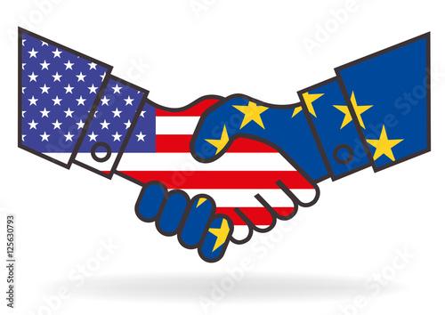 Fotografie, Obraz  Poignée de mains - Europe USA - Accord - Libre échange