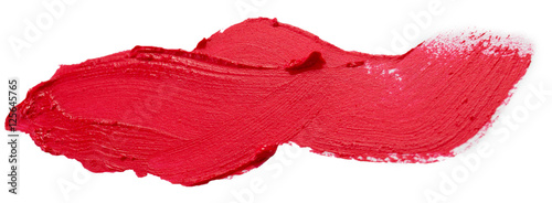 Fotografiet red lipstick stroke isolated on the white background