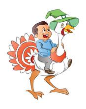 Boy Riding A Turkey, Illustrat...