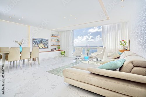 Photo  Modern Luxury Interior Design Of Living Room With Sea View