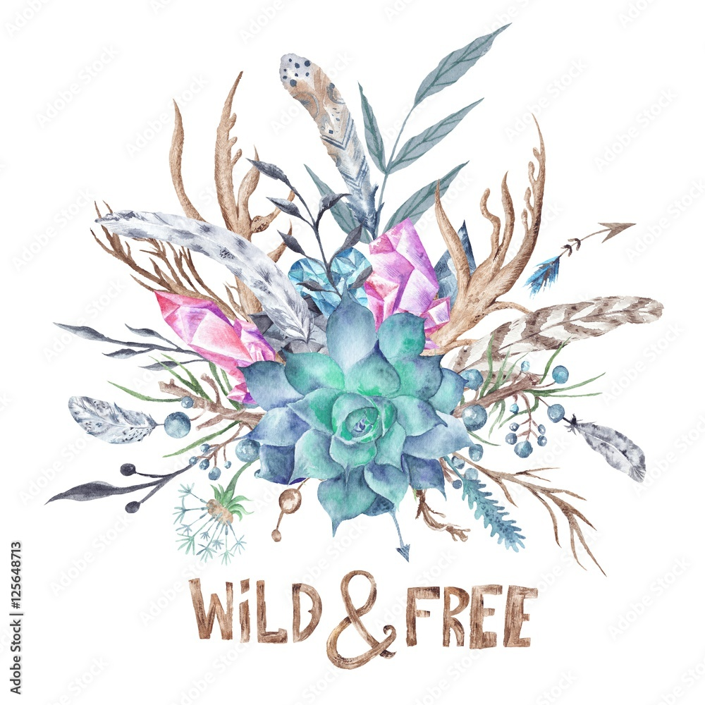 Wild and Free Boho Watercolor Illustration
