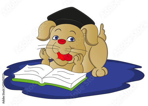 Poster Cars Vector of dog reading book.